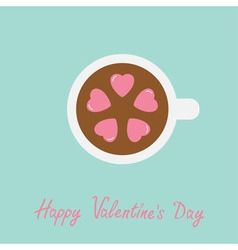 Tea cup with coffee five pink heart marshmallow vector