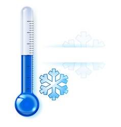Thermometer by seasons winter on white vector