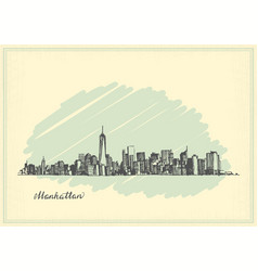 Vintage postcard with sketch of manhattan new york vector
