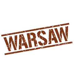 Warsaw brown square stamp vector