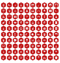 100 amusement icons hexagon red vector