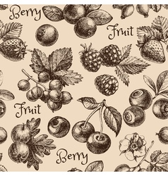 Vintage hand drawn sketch berries seamless pattern vector