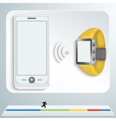 White smartphone and yellow smart watches vector