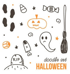 Set of cute black and orange halloween doodles vector