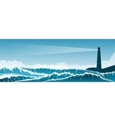 Stormy seascape background with lighthouse vector image