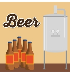 Brewery beer bottles production poster vector