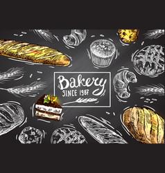 hand drawn bakery vector image