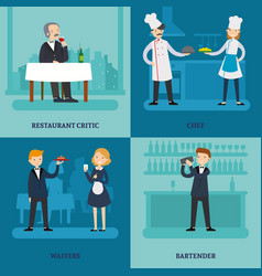 People in restaurant square concept vector