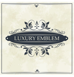luxury emblem swirl ornament typographic design vector image