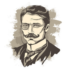 sketch of a learned man with a mustache and a vector image