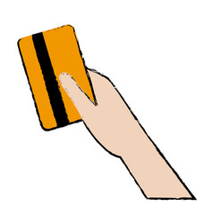 Hand holds credit card payment purchase vector