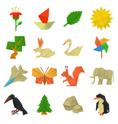 Origami craft icons set cartoon style vector