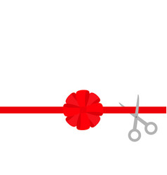 Scissors cut straight red ribbon big round bow vector