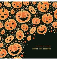 Halloween pumpkins corner decor pattern background vector