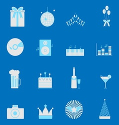 Party and celebration color icons set vector