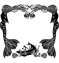 Frame mermaids weep shipwreck stencil for sticker vector