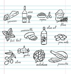 Hand drawn food ingredients vector