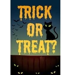 Halloween theme with black cat vector image