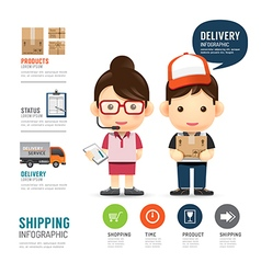 Shipping infographic with people delivery service vector