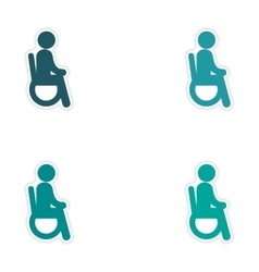 Set of stickers man in wheelchair on white vector