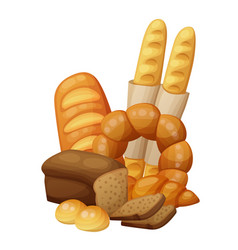Bakery bread buns croissant loaf vector