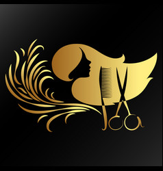 beauty salon of golden color vector image
