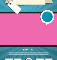 Blue and Pink Leaflet or Poster Retro Template vector image