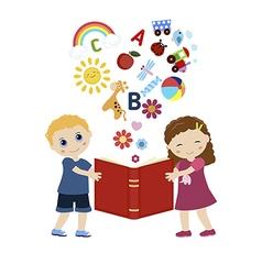 Children holding a book vector