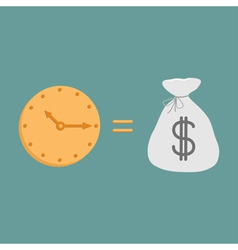 Clock and dollar bag Icons Time is money vector image
