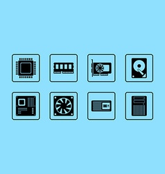Computer hardware web icon set vector