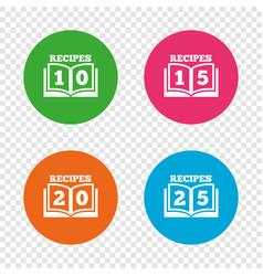 Cookbook icons twenty five recipes book sign vector
