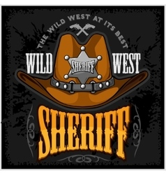 Cowboy hat and sheriffs star - badge emblem vector image