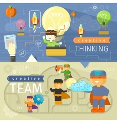 Creative thinking and creative team vector