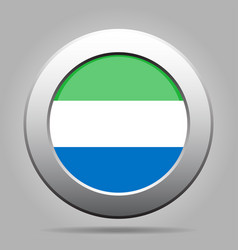 Flag of sierra leone metal gray round button vector