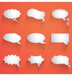 Flat speech bubble icon with long shadow set vector image