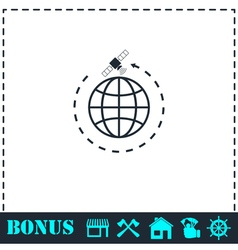 Globe symbol with satellites icon flat vector image