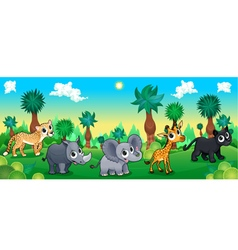 Green forest with wild animals vector image