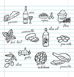 hand drawn food ingredients vector image