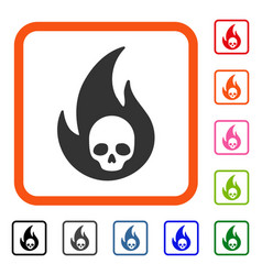 Hell fire framed icon vector