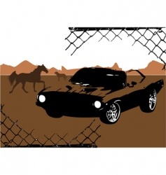 horse and car design vector image