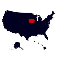 Iowa State in the United States map vector image vector image