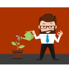 Lucky businessman investments conceptual vector