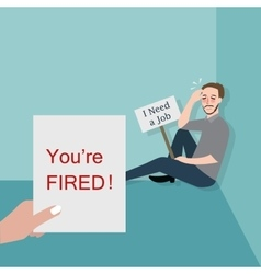 man fired looking for a job vector image vector image
