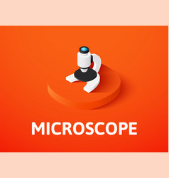Microscope isometric icon isolated on color vector