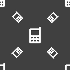 Mobile phone icon sign seamless pattern on a gray vector