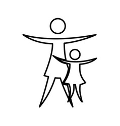 mother with daughter silhouette isolated icon vector image
