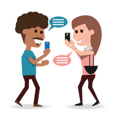 people with smartphone in the hand and chat vector image