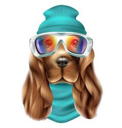 Realistic spaniel dog ski suit portrait vector