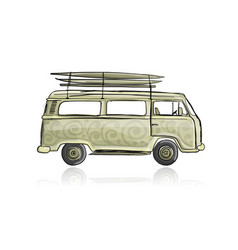 retro bus with surfboards sketch for your design vector image