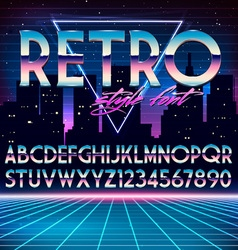 Shiny Chrome Alphabet in 80s Retro Futurism style vector image vector image